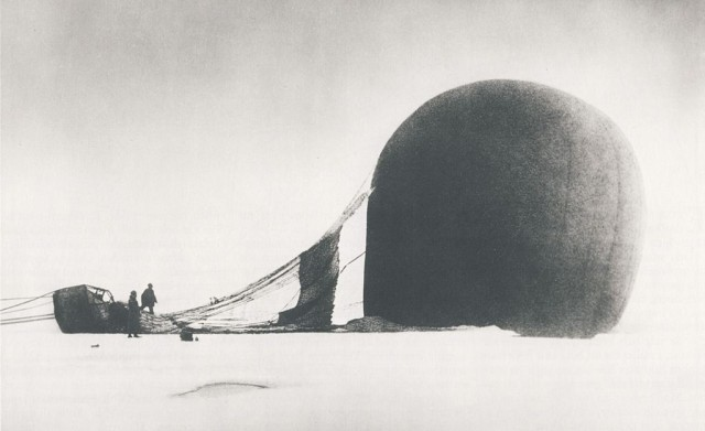 S. A. Andrée and Knut Frænkel with the crashed balloon on the pack ice, photographed by the third expedition member, Nils Strindberg