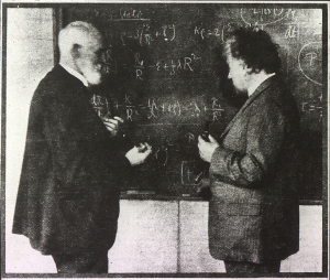 Willem de Sitter and Albert Einstein discuss the equations governing the dynamics of the universe