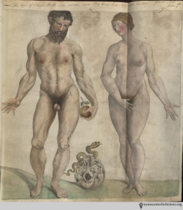 Adam and Eve in the Academy's copy of the 1559 English edition of Geminus' Compendiosa.