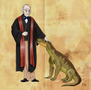 Richard Owen and his gorgonops by pelycosaur