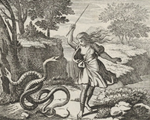 Tiresias, apparently not yet aware of having become a woman, beats up a pair of frisky snakes. Woodcut illustration, 1690 CE. Source: Wikimedia Commons