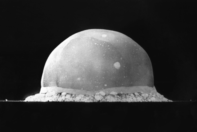 The Trinity explosion, 16 ms after detonation. The viewed hemisphere's highest point in this image is about 200 metres (660 ft) high. Source: Wikimedia Commons