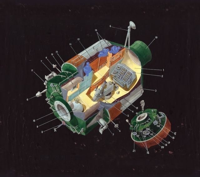 Design for the technology module of the Mir space station (1980). Image: Galina Balashova Archives