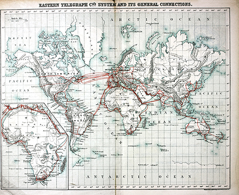 INTELLIGENT LIFE MAGAZINE JULY / AUG 2015 Early internet map - The Eastern Telegraphic System and its General Connections.
