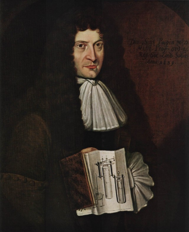 Denis Papin holding the plans for his steam engine. Unknown artist 1689 Source: Wikimedia Commons