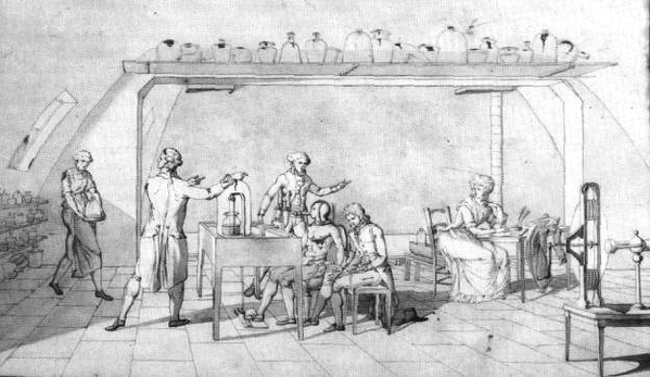 Madame Lavoisier while assisting her husband on his scientific research of human respiration; she is visible at the table on the far right.