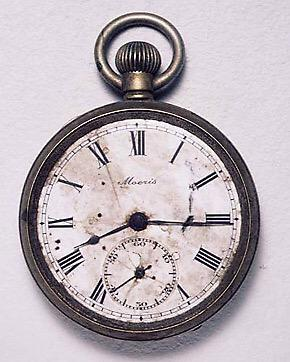 The watch of Kengo Nikawa which stopped forever at 8.15 on the day the nuclear bomb fell on Hiroshima.