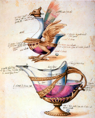 Jacopo Ligozzi,1518, fanciful glass vessels, ink and watercolor on paper.
