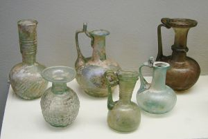 Second century Roman glass. Some of these bottles may have contained perfume. Source: Wikipedia.