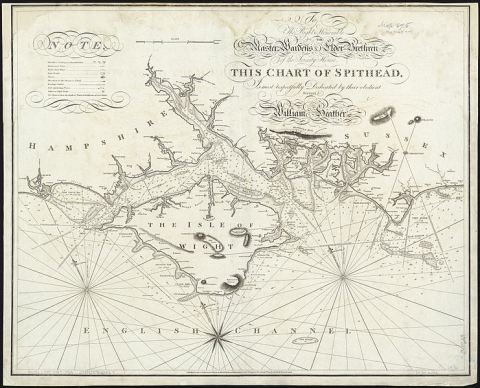 Chart of Spithead by William Heather, 1797; Spithead is the channel north-east of the Isle of Wight (Source: Wikimedia Commons)