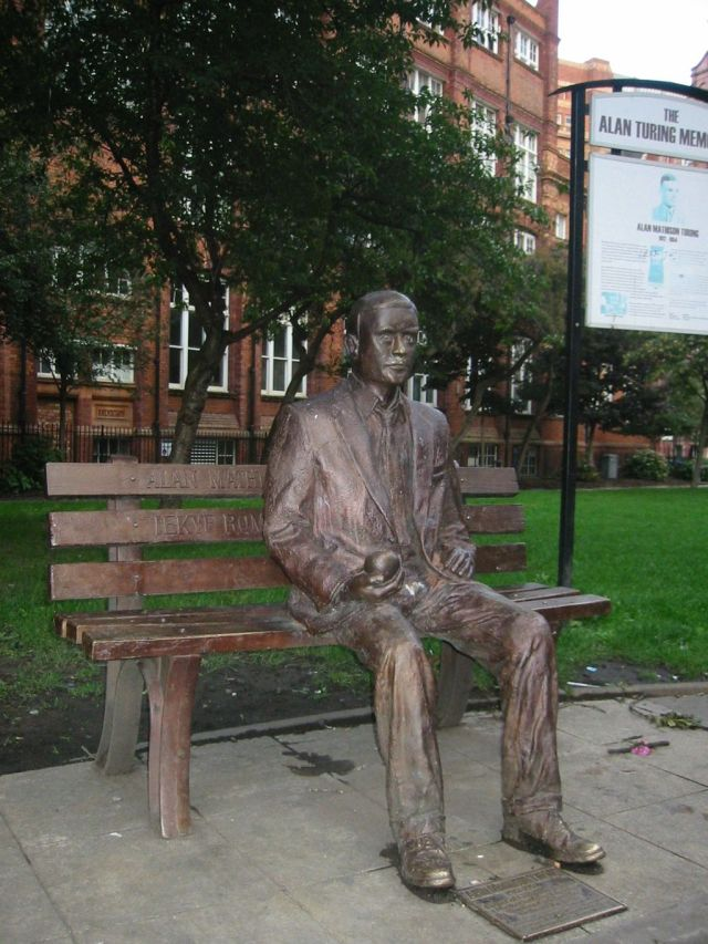 Alan Turing memorial statue in Sackville Park, Manchester. Source: Wikimedia Commons