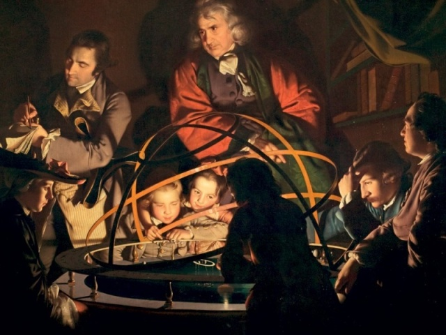 Joseph Wright of Derby, A Philosopher giving that Lecture on the Orrery (1766) Derby Museums (detail)