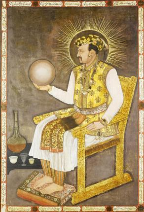 Too big for the palm: Emperor Jahangir is shown holding a globe in this Mughal-era painting. The globe is believed to have been made by metallurgist Muhammad Salih Tahtawi. Photo: Wikipedia