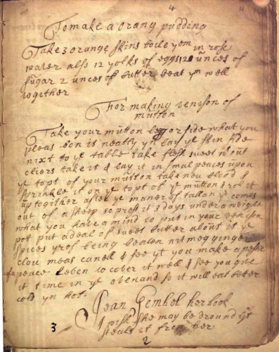 """Page from """"Gemel Book of Recipes : manuscript, circa 1660-1700,"""" New York Academy of Medicine. Curse on bottom of page: Jean Gembel [Gemel] her book / I wish she may be drouned yt steals it from her."""