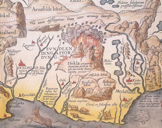 Detail of Abraham Ortelius' 1585 map of Iceland showing Hekla in eruption. The Latin text translates as