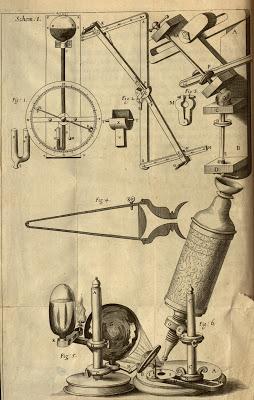 Robert Hooke's microscope. Micrographia, 1665. http://biodiversitylibrary.org/page/786364. Digitized by: Missouri Botanical Garden.