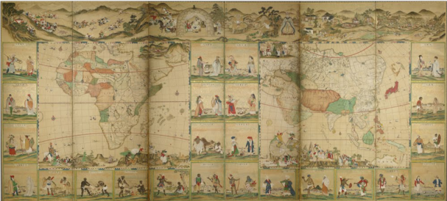 "Half of ""Screens of the Four Continents and People in 48 Countries in the World,"" by an unknown Edo-era Japanese painter. (All images: Kobe City Museum/Google Cultural Institute)"