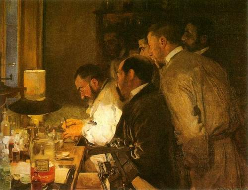 Joaquin Sorolla 1863- 1923 Doctors Laboratory, an investigation, Oil on canvas