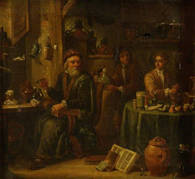 Unknown artist: Chemist or Pharmacist in His Laboratory, with Assistants and Apparatus (c) Museum of the History of Science; Supplied by The Public Catalogue Foundation