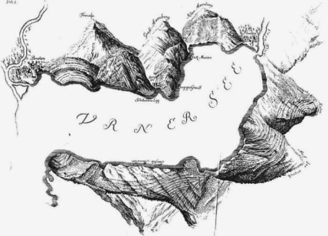 """The mountains around the Urnersee, from Scheuchzer´s """"Helvetiae Stoicheiographia"""" published in 1716 (image in public domain)."""