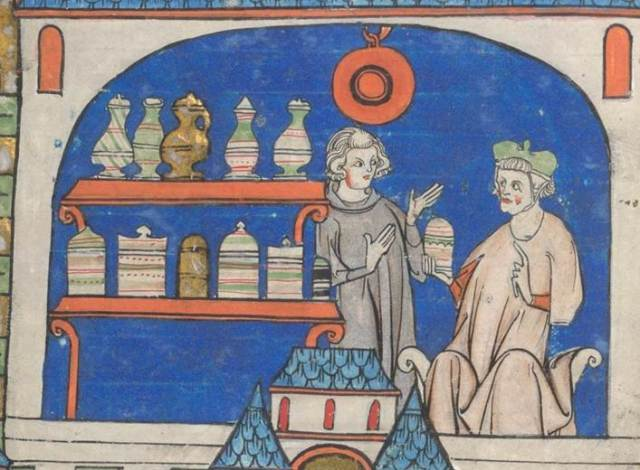 Apothecary shop, British Library Ms Sloane 1977 f. 49v. From an early 14th century manuscript of the Circa instans (and other works), France (Amiens). Image Credit: The British Library.
