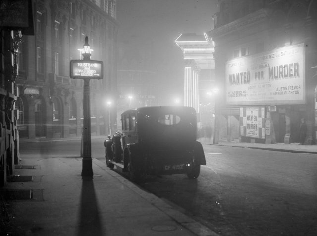 Central London at night, 1936. Credit Lacey/General Photographic Agency, via Getty Images