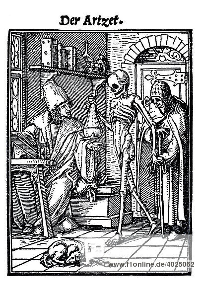 Woodcut, The Physician, Hans Holbein the Younger, Dance of Death, 1538