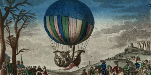 An 18th-century hydrogen filled balloon takes off. (Library of Congress)