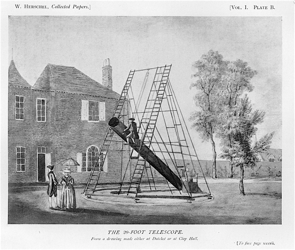 20ft telescope from The Scientific Papers of Sir William Herschel (London, 1912), Royal Soc and RAS