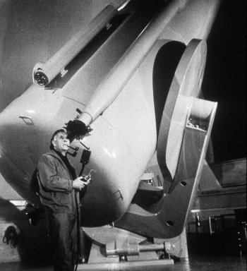 Edwin Hubble, doing what he loved best at Mount Wilson Observatory