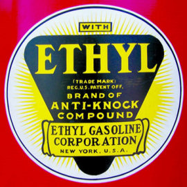 Label for Ethyl Gasoline Additive. Leaded gasoline was one of the major inventions of Thomas Midgley Jr.