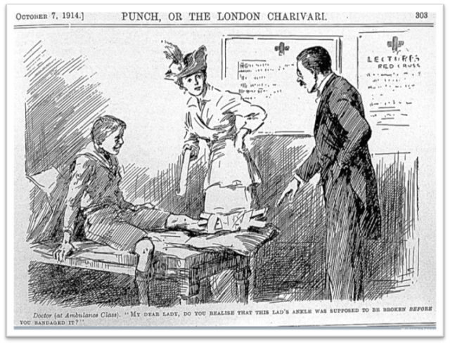 Cartoon from Punch , 1914. Doctor (at Ambulance Class) 'My dear lady, do you realise that his lad's ankle was supposed to be broken before you bandaged it?' © Wellcome Images, Wellcome Library, London.