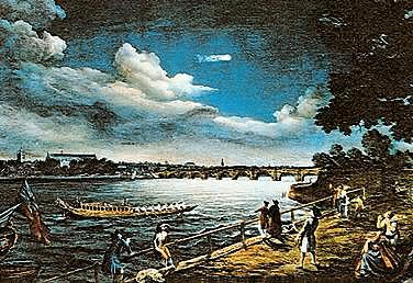 Painting by Samuel Scott. Comet Halley over the river Thames near London, England in 1759.