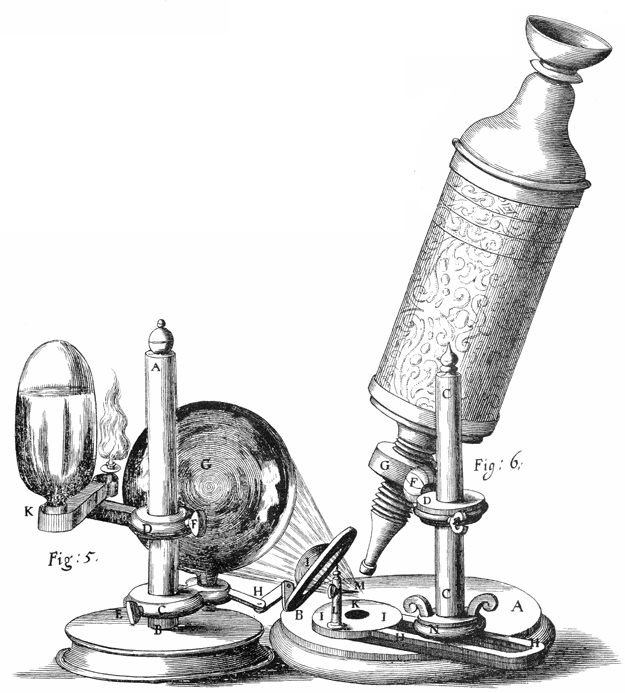 Hooke's microscope, from an engraving in Micrographia. Source Wikimedia Commons