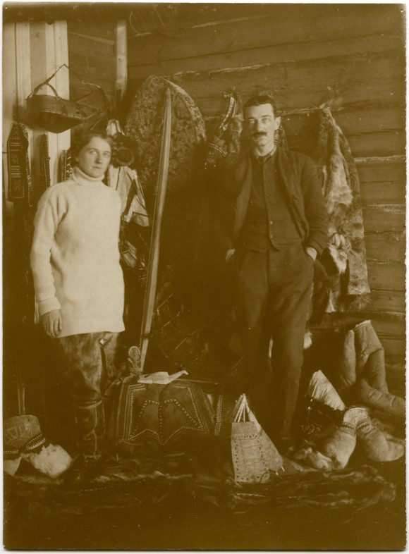 Portrait of Marie Czaplicka and Henry Usher Hall standing with some of the objects which they collected on the Yenisei Expedition to Siberia (1914-15). Images courtesy of the Pitt-Rivers Photo Collection.