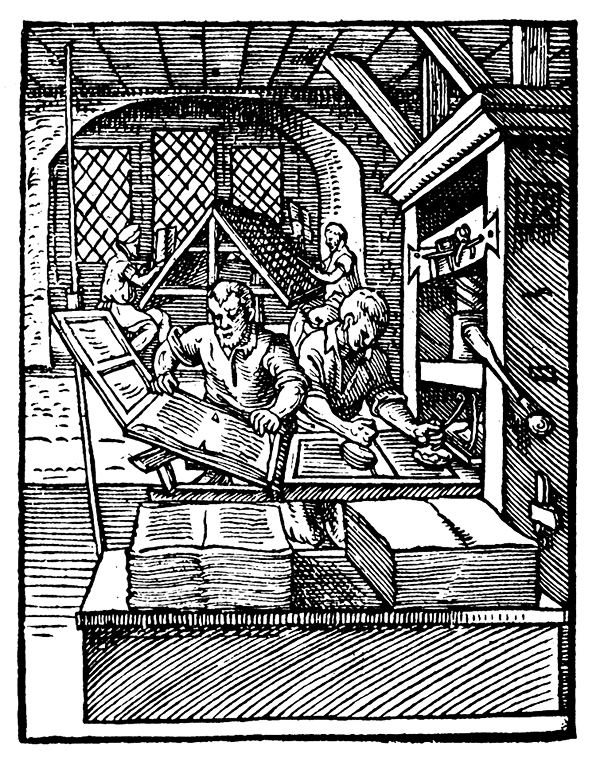 "A 16th-century print shop. A ""puller"" removes a printed sheet from the press, while a ""beater"" inks type. - Source Wikimedia Commons"