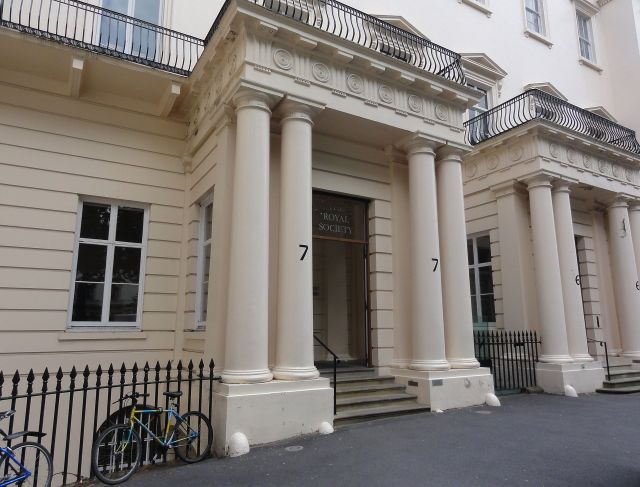 The entrance to the Royal Society in Carlton House Terrace, London
