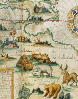 Desceliers Arctic elephant. North is at the bottom of the page.