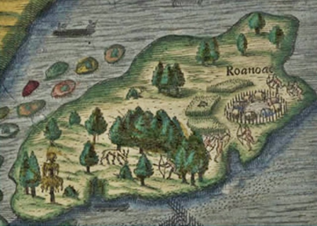 This illustration is a detail from a map in the 1590 edition of Thomas Hariot's Briefe and True Account of the New Found Land of Virginia.