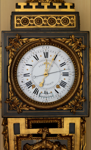 Clockmaker: Ferdinand Berthoud (French, 1727–1807); Case maker: Balthazar Lieutaud (French, ca. 1720–1780, master 1749). Longcase astronomical regulator (detail), ca. 1768–70. Case: oak veneered with ebony and brass, with gilt-bronze mounts; Dial: white enamel; Movement: gilded brass and steel; Height: 90.5 in. (229.9 cm). The Metropolitan Museum of Art, New York, (1982.60.50).