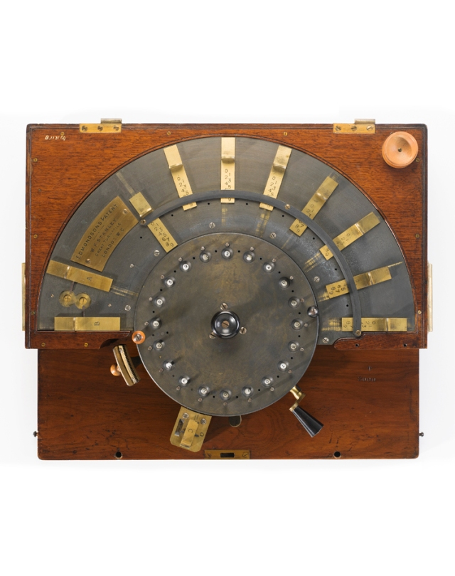 B1131-2 Calculator, mechanical, Edmondson's  Patent, for addition and substraction, brass and steel mechansim, in polished wooden case with brass handles, W F Stanley, London, England, 1880