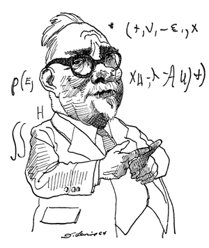 Norbert Wiener by David Levine, New York Review of Books