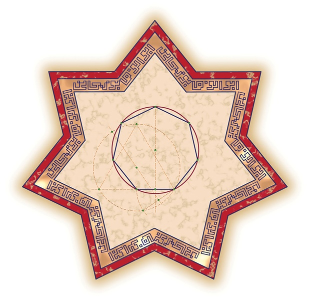 Reza Sarhangi (Iranian-born American, b. 1952) and Robert Fathauer (American, b. 1960), Būzjānī's Heptagon, 2007. Digital print, 13 × 13 in. (33 × 33 cm). Courtesy of the artists.