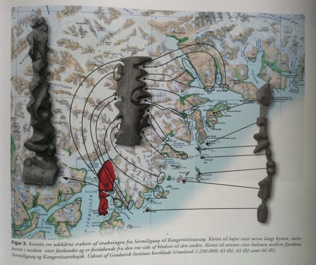 "In English, the caption reads: ""Kuniit's three wooden (tree) maps show the journey from Sermiligaaq to Kangertittivatsiaq. Map to the right shows the islands along the coast, while the map in the middle shows the mainland and is read from one side of the block around to the other. Map to the left shows the peninsula between the fjords Sermiligaaq and Kangertivartikajik."" From ""Topografisk Atlas Grønland"", published by Det Kongeglige Danske Geografiske Selskab, 2000 (pg 171)."