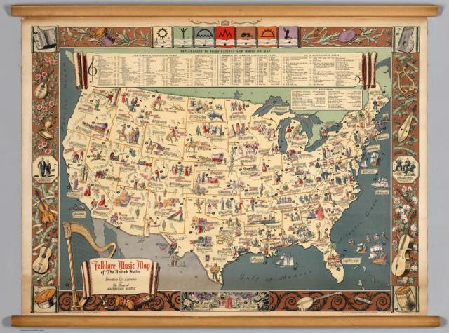 """Folklore Music Map of the United States."" Courtesy the David Rumsey Historical Map Collection."