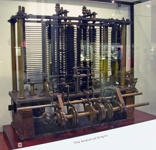 Trial model of a part of the Analytical Engine, built by Babbage, as displayed at the Science Museum (London) Source: Wikimedia Commons