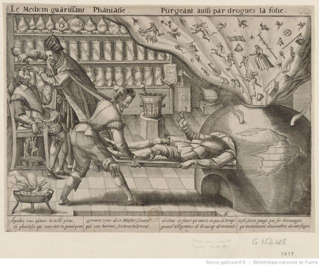 """""""Le Médecin guérissant Phantasie,"""" Mattheus Greuter, 1620 (Bibliothèque nationale de France)."""