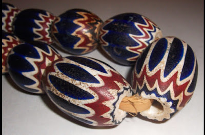 Six-layer glass chevron trade beads (photo attr. unknown)