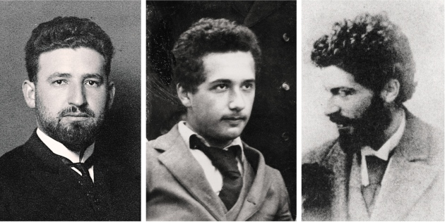 Marcel Grossmann (left) and Michele Besso (right), university friends of Albert Einstein (centre), both made important contributions to general relativity. Grossmann, Einstein: ETH-Bibliothek Zürich/Bildarchiv; Besso: Besso Family/AIP Emilio Segre Visual Archives