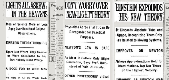 Articles in The Times from Nov. 10, 1919, left; Nov. 16, 1919, center; and Dec. 3, 1919.